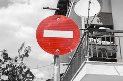 Sign no entry. With black and white background Stock Photography