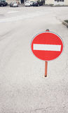Sign No Entry on the street of the european city Stock Photography