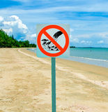 Sign of no feeding bird and fish on green grass background Stock Images