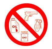 Sign of no gun and grenade and oil and gas. Isolated on white background Stock Image