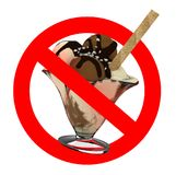 Sign no ice cream, red sign isolated white background Royalty Free Stock Image