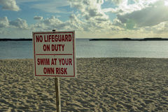 Sign no lifeguard on duty Royalty Free Stock Photography