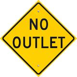 Sign No Outlet. Informational sign, yellow, with legend No Outlet photographed on a residential street in North Beach, Maryland USA royalty free stock photos