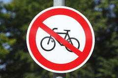 Sign no parking bicycle Stock Image