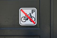 Sign of No Parking Bikes Stock Photo