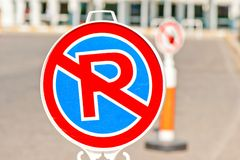 Sign no parking near the airport Royalty Free Stock Images
