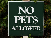Sign `No pets allowed` stock photo