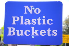 Sign No Plastic Buckets Stock Photo