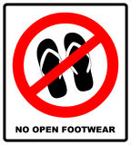 Sign no sandals. No slipper red prohibition plane icon on white background. Ban flip flops. Stock illustration. Warning banner of no sandals, thongs or open royalty free illustration
