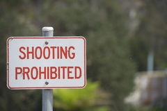 Sign no shooting prohibited outdoor Stock Photos