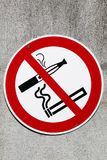 Sign no smoking cigarette and e cigarette. On an industrial site stock images