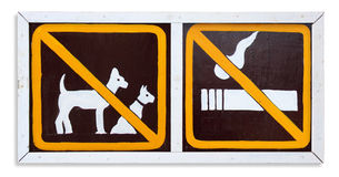 The sign no smoking and no dog on this area Stock Image