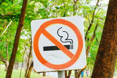 The sign no smoking in public area Stock Image