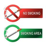 The sign no smoking and smoking area Stock Photo