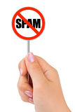 Sign NO SPAM in hand Stock Image