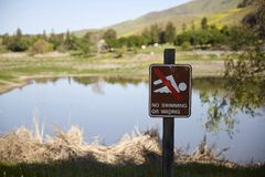 Signs of no swimming or wading Stock Images