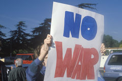 Sign �No War� at peace rally,  Los Angeles, California Stock Photos