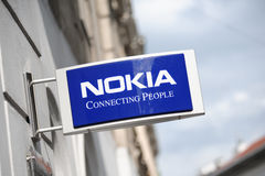 Sign of the NOKIA store in Helsinki Stock Photos