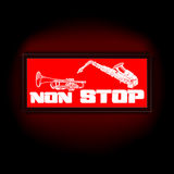 Sign non-stop music with trumpet and saxophone Stock Photo