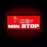 Sign non-stop music with trumpet Stock Photo