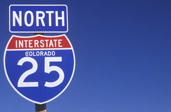 A sign for the 25 north in Colorado Royalty Free Stock Images