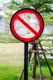 Sign not use foams food Royalty Free Stock Photography