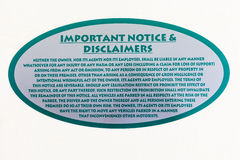 Notice Disclaimers Sign Stock Photo