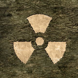 Sign nuclear energy on bark Royalty Free Stock Image