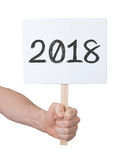 Sign with a number - The year 2018. Sign with a number, isolated on white - The year 2018 stock photo