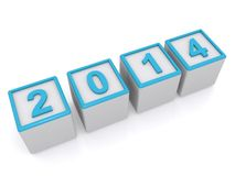 2014 sign. Numbers on blocks spelling date 2014, white background Royalty Free Stock Image