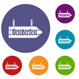 Sign octoberfest icons set. In flat circle reb, blue and green color for web Stock Photography