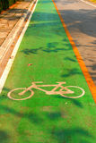 Sign off bicycle lanes in park. Bike way royalty free stock photos