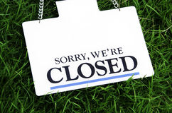 Sign off. Labels that are closed to the public Stock Photos