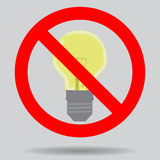 Sign off the light to save electricity. Illustration ban lightbulb and forbidden electrical vector stock illustration