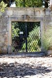 Private property. Sign at old entrance door saying `private property` in french stock photo