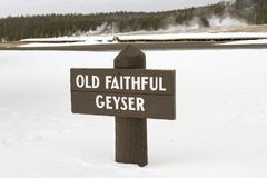 Sign for Old Faithful geyser, Yellowstone National Park, Wyoming Stock Images