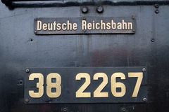 Sign on an old german locomotive Royalty Free Stock Photos