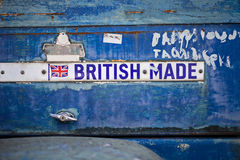 Sign on an old machine saying British made Royalty Free Stock Photos