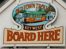 Sign. For Old Town Trolley at Mallory Square, Key West Stock Image