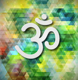Sign Om. Hand drawn symbol of Buddhism and Hinduism religions Stock Images