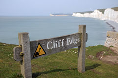 Sign On Cliffs, Birling Gap, Sussex Stock Photography