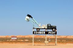 Sign of opal mining town Coober Pedy, South Australia stock image