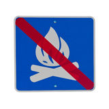 Sign: open fire prohibited. Sign isolated on white: no camp fires/ open fire prohibited Royalty Free Stock Photo
