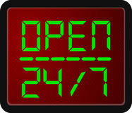 Sign Open 24 Hour 7 day a week. Vector Sign Open 24 Hour 7 day a week Stock Image