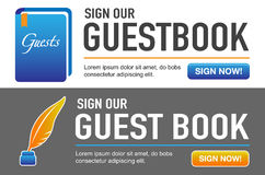 Sign our Guestbook CTA with Quill Pen Royalty Free Stock Photo
