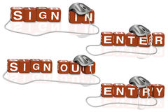 Sign in out enter login or logon Stock Photography