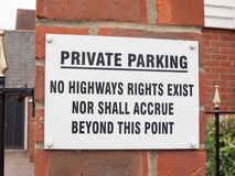A sign outside near a private residential old people car park sa Stock Image