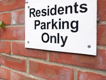 A sign outside near a private residential old people car park sa Stock Images