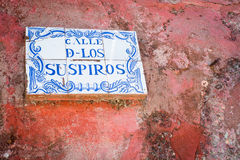 Sign over Calle de los Suspiros in Colonia Stock Photography