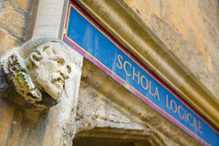 Sign over old door at Bodleian Library, Oxford, 'School of Logic Stock Image